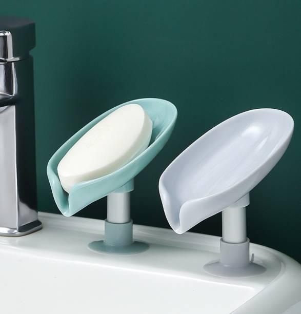 KitchenFest ® (Pack of 2) Non-slip Leaf Shape Suction Drain Soap Box Bathroom Soap Holder Eco Friendly Household