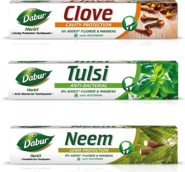 Dabur Herb'l Neem , Tulsi and Clove Toothpaste Assorted Pack (200gm each) Toothpaste