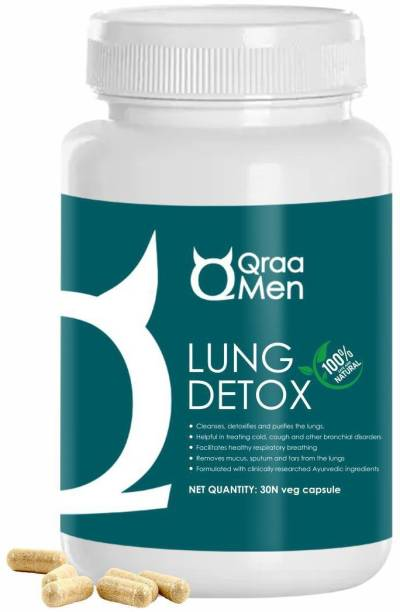 Qraa Lung Detox Capsules for Men I Cleanses, detoxifies and restores the lungs against mucus, sputum and tars I 100% ayurvedic ingredients I 60 Veg Capsules