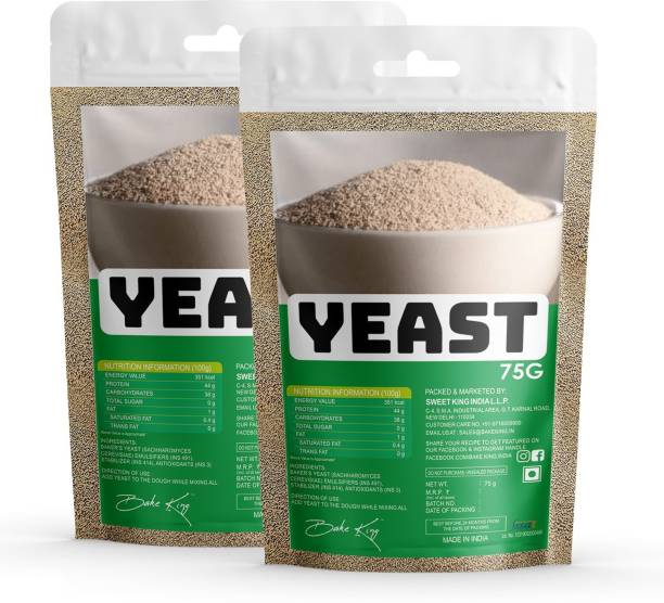 Bake King Pack of 2 Grade A Quality Yeast 75gm- Active Instant Dry Yeast 150gm Yeast for Pizza Base Pantry, Baking Bread and Cake, Khamir Powder 2X75gm Yeast Powder