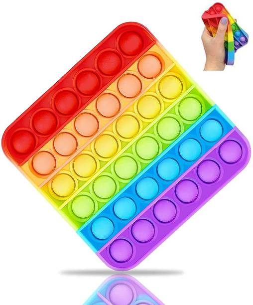 BONIRY Pop it Fidget Toy - Rainbow Popit Push pop Toy for Adults and Children. Popping Sensory fidgets Bubble Toy - Autism and Special Needs Stress Reliever - Square Rainbow Party & Fun Games Board Game