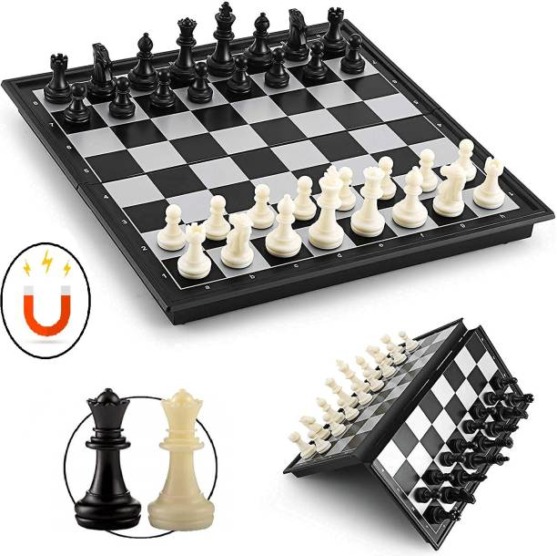 Bestie Toys Chess Board Folding With Magnetic Pieces And Standard Board (10 Inch) 25 cm Chess Board