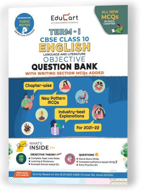 Educart TERM 1 ENGLISH MCQ Class 10 Question Bank Book 2022 (Based on New MCQs Type Introduced in 2nd Sep 2021 CBSE Sample Paper)