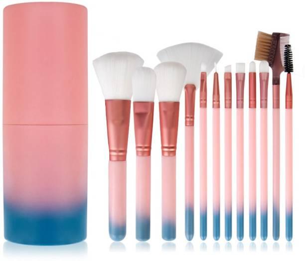BELLA HARARO Professional 12 Piece Face and Eye Makeup Brush Set With Storage Barrel - Pink & Blue