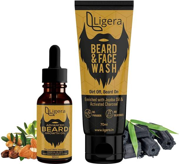 Ligera Beard Growth Kit with Set Of Advanced Beard Growth Oil With Beard Face Wash| For Faster Beard Growth (Beard Oil+ Face & Beard Wash)