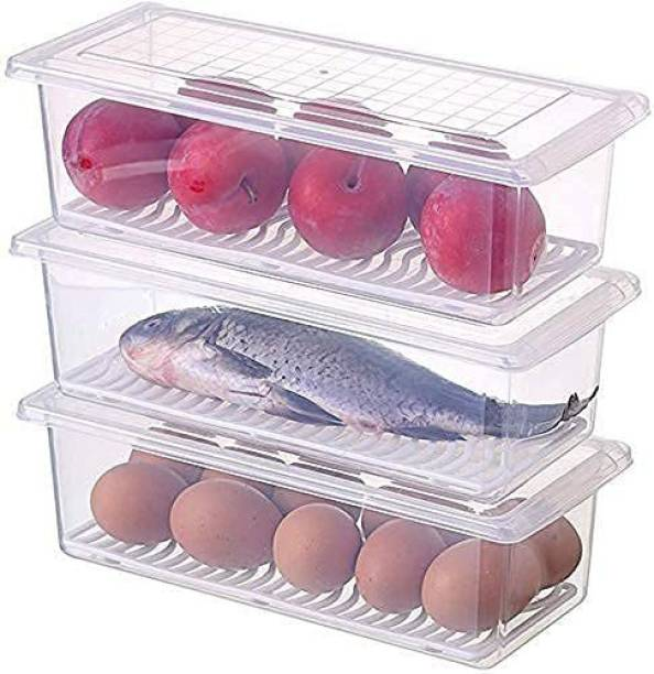 aalok enterprise Transparent Plastic Food Storage Container with Removable Drain Plate and Lid Stackable Plastic Freezer Storage Box for Fish, Meat, Vegetables, fruits  - 350 ml Plastic Fridge Container