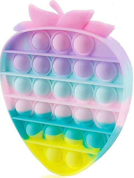 INDOBASIC pop it Push Pop Bubble Sensory Fidget Toy, Stress Relief and Anti-Anxiety Tools It Silicone -Relief Items Popper Educational ADHD Special Needs ,Set its pop it Toys (Strawberry) Gag Toy