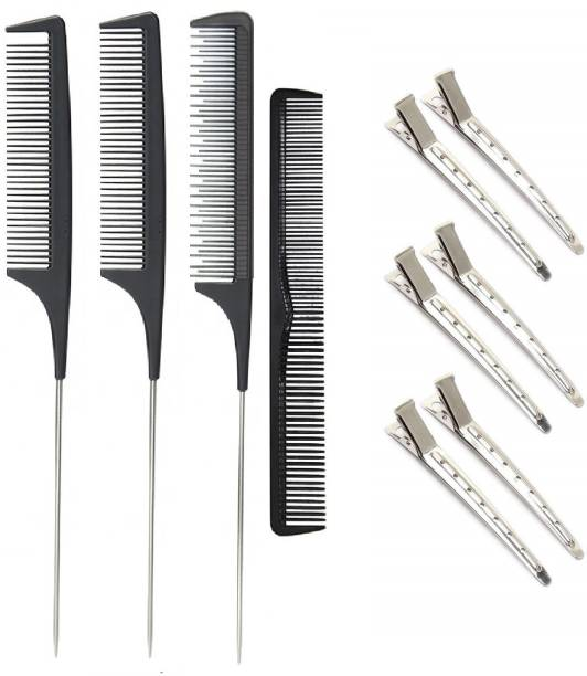 E-DUNIA Hair Clips for Styling Sectioning, Include 6 Steel Clips for Hair, 3 Different Types of Rat Tail Sectioning Carbon Fine Cutting Combs, Professional Salon Hair Clips Set for Women Girls Men Kids