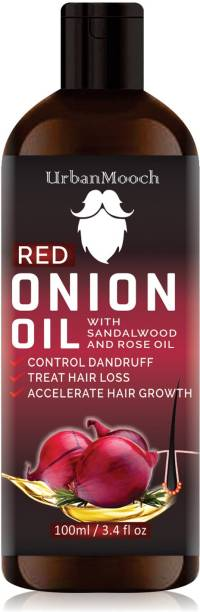 UrbanMooch Pure & Natural RED ONION OIL- For Hair Regrowth Hair Oil With Sandalwood & Rose Oil- Hair Oil