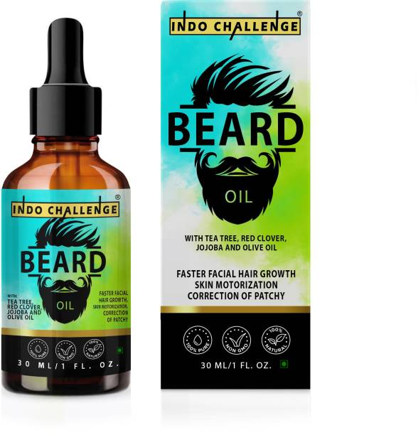 INDO CHALLENGE Advanced Beard Growth Oil For Men (SLS & Parabean Free),Godfather Lite Beard and Moustache Oil, 30 ml | Non-Sticky, Light Beard Oil for Men| Pleasant Fragrance | Ideal for daily use|Nourishes and Strengthens Beard | Provides Shine to Beard | Prevents dry and flaky beard Hair Oil