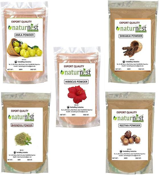 NatureNest Amla shikakai Reetha Bhringraj Hibiscus powder for hair
