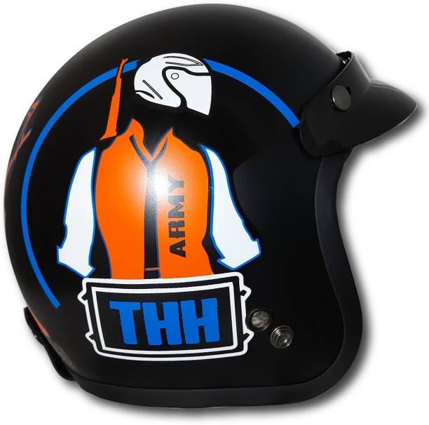 THH HELMETS FH-356 black orange army Open face helmet (BLACK-ORANGE-ARMY-MATT) Motorbike Helmet