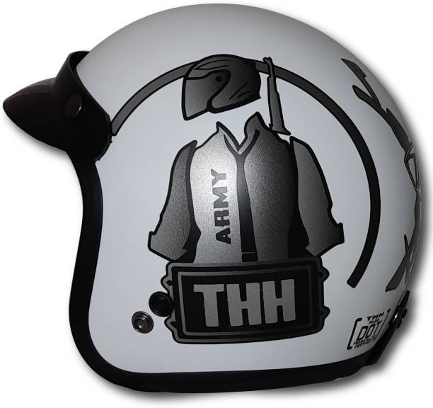 THH HELMETS FH-356 white grey army Open face helmet (White-Grey-Army-MATT) Motorbike Helmet