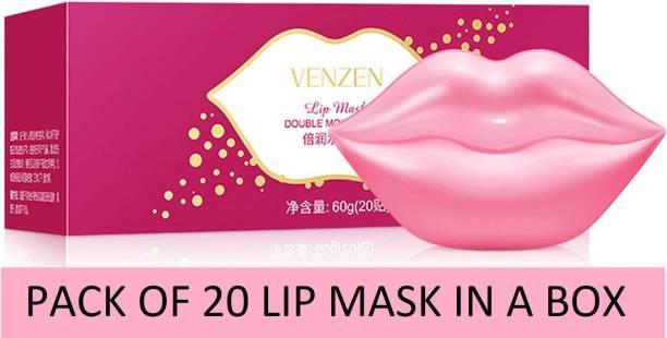 Venzen Lip Mask Pink Lips Moisturizing Cheery hydrating Anti Drying Lightening Skin Care Lip Treatment lip lines combo pack 20 Lip Masks men women sheet mask Plumping Lips transparent