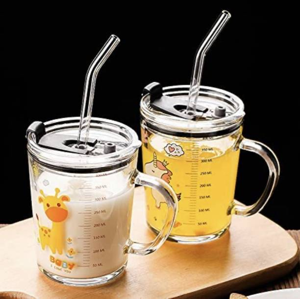 ELEGIOUS Random Design Glass Straw Measuring Drinking with Handle and Clear Lid with Scale Straw for Multiple Usage 350 ml (Pack of 2) . Glass Mason Jar