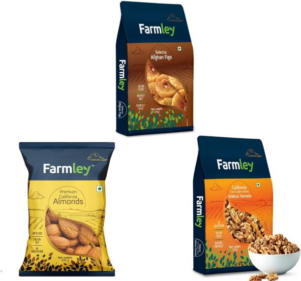 Farmley Dry Fruits Combo (Premium California Almonds 250g, Afghan Figs 200g , California Walnuts 200g ) Assorted Nuts