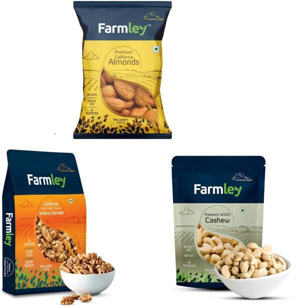 Farmley Dry Fruits Combo (Premium California Almonds 250g, W320 Cashews 250g, California Walnuts 200g ) Assorted Nuts