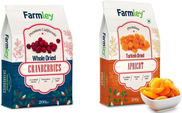 Farmley Dried Fruits Berries (Dried Cranberries 200g, Dried Apricots 200g)