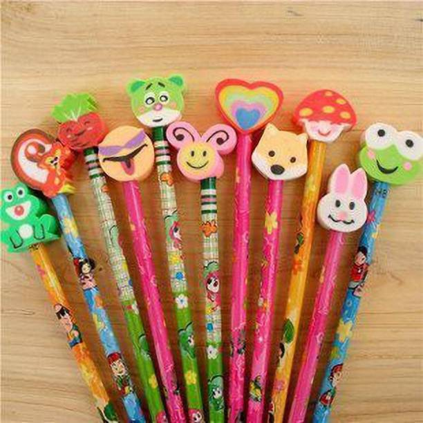 Rockjon Pencil with Cartoon Shape Eraser at Head.Premium Quality Extra Dark Pencils Gifts Set, Return gift for kids (Pack of 6) Pencil