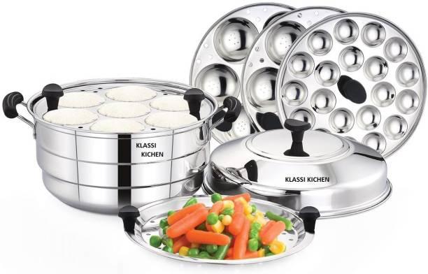 KLASSI KICHEN Stainless Steel Idly Pot with Steamer and Mini 3 Idli Plates(21 idlies)1 mini Idli Plate(20 idlies) Slow Cooker