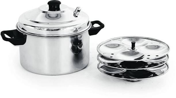 KLASSI KICHEN Stainless Steel 3 plate Idli cooker 12 idlies Slow Cooker