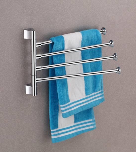 Flaner Stainless Steel 4-Arm Bathroom Swing Hanger Towel Rack/Holder for Bathroom/Towel Stand/Bathroom Accessories 12 inch 4 Bar Towel Rod
