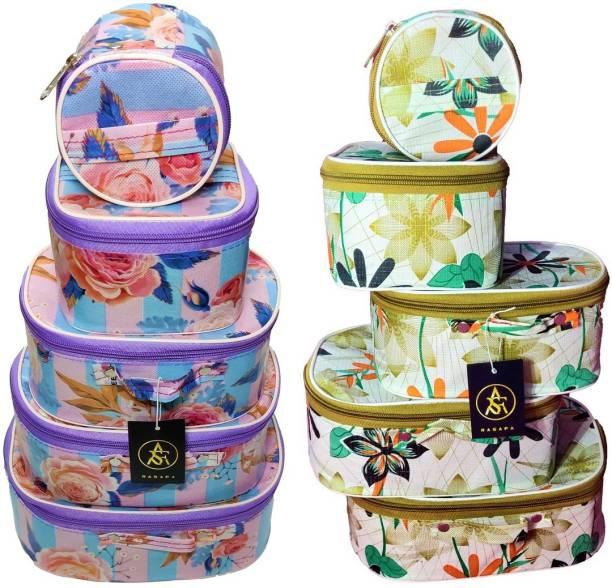 Rasafa Combo Pack of 10 Vanity Box Storage Case, Cosmetic Box, Makeup Kit, Bangle Box Vanity Box