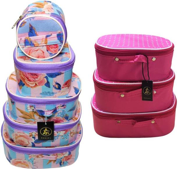Rasafa Combo Pack of 8 Supreme Quality Vanity Box Bridal Organizer, Cosmetic Box, Bangle Box, Makeup Kit Vanity Box