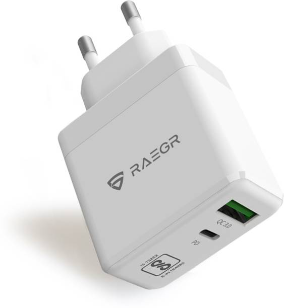 RAEGR RG10309 RapidLink 1150 GaN 65W PD+Dual USB Wall Charger Compatible with MacBook Air/MacBook Pro/Ultrabook, iPhones, iPad, Tablets, Nintendo Switch Charger 0.5 A Multiport Mobile Charger