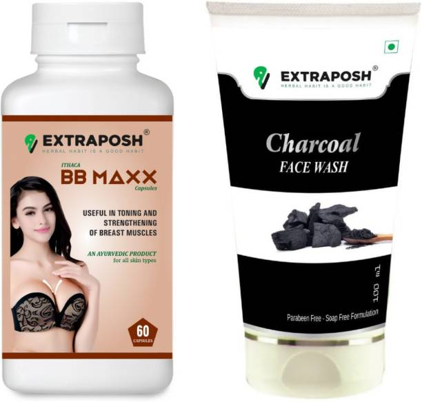 Extraposh BB MAXX CAPSULES - USEFULL FOR BREAST ENLARGEMENT + CHARCOAL FACE WASH - USEFULL FOR DUST FREE SKIN