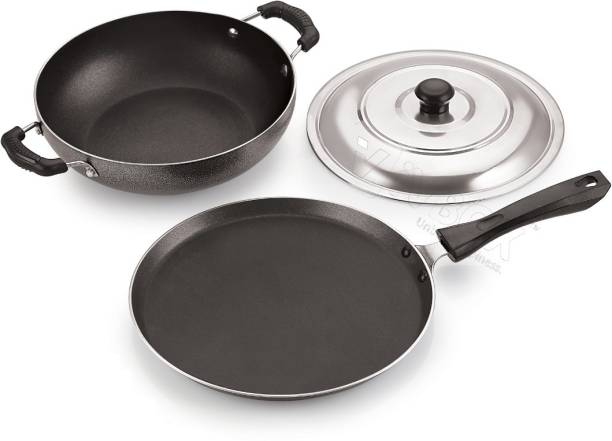 iVBOX ® Duo-Gift Non-Stick Kadhai and Tawa With Hard-Stone outer Coating Cookware Set