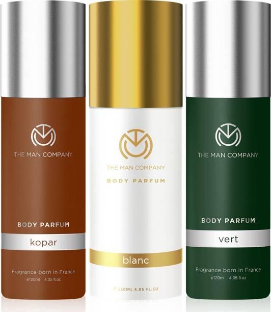THE MAN COMPANY Body Deodorant Trio Pack for Men | Kopar, Blanc, Vert Body Perfume for Men | Long Lasting Fragrance | Body Spray Combo Kit | Gift Set for Men | No Gas Deodorant - (120ml*3) Deodorant Spray  -  For Men & Women