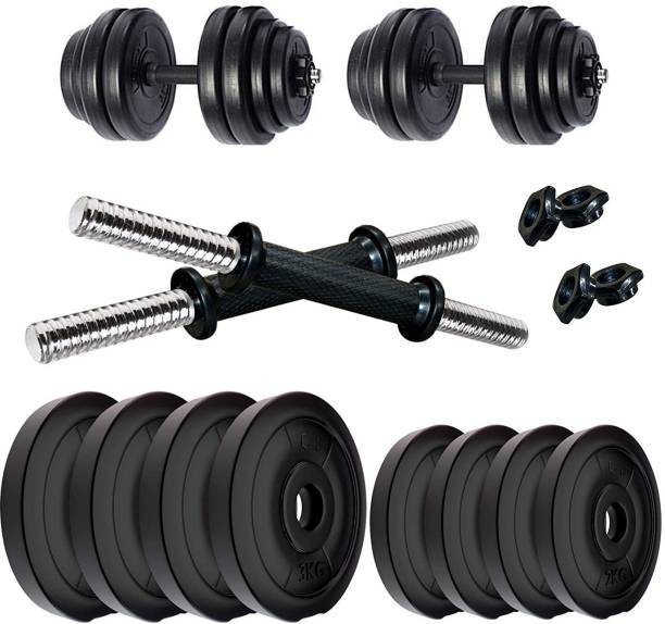 FIT & FITNESS 20KG Dumbell Set Combo Home Gym Adjustable Dumbbell Black Weight Plate