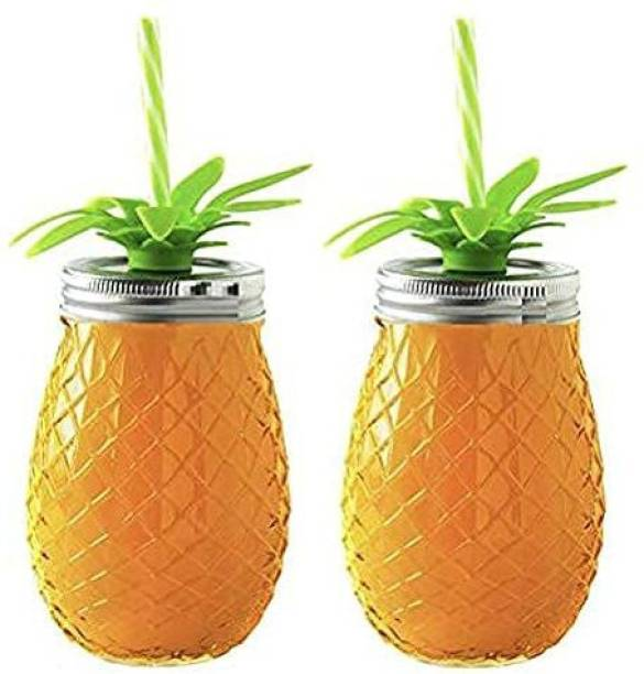 BRIGHTLIGHT TRADERS Juice Glass Pineapple Shape 450 ml Set of 2 with Lid and Straw Drinking Water Cocktail, Juice, Milkshake Cold Coffee Glass Mason Jar