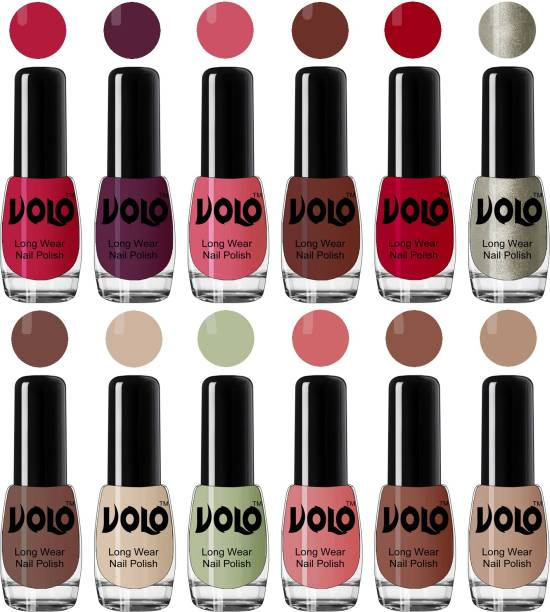 Volo Color Rich Toxic Free Perfection Shine Nail Polish Set of 12 Combo-No-247 Coral Compass, Wine Maroon, Pink Mania, Reddish Orange, Chrome Rust, Chocolate Brown, Dark Nude, Nude, Mischievous Mint, Candy Cotton, Dark Nude, Nude