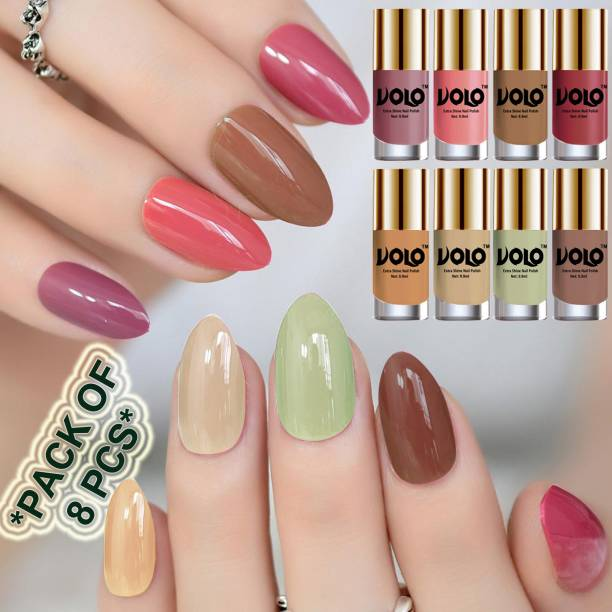 Volo High-Shine Long Lasting Non Toxic Professional Nail Polish Set of 8 Combo-No-30 Mischievous Mint, Tan, Dark Nude, Nude, Flirty Nude, Nudes Spring, Candy Cotton