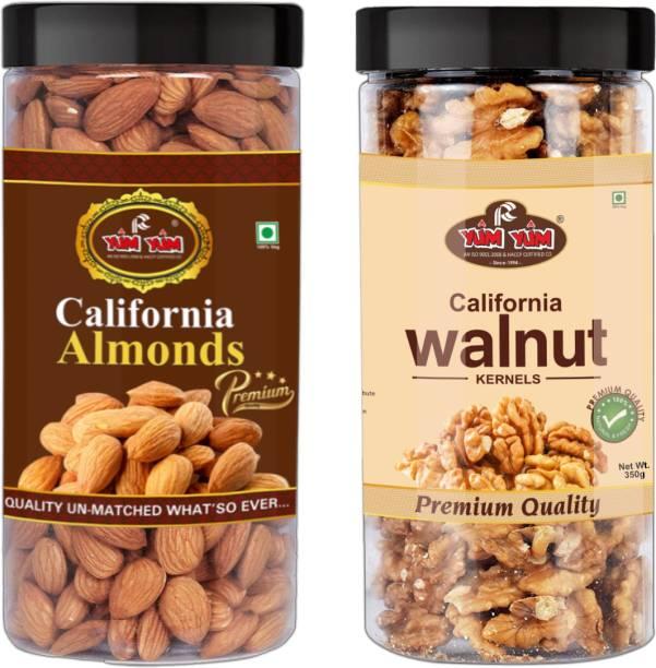 YUM YUM California Almonds 500g & Walnut Kernels 350g Akhrot Giri Dry Fruits Combo Pack- 850g (Jar) Almonds, Walnuts