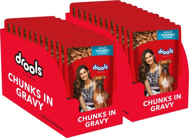drools Chunks in gravy for Adult - Chicken Liver and Real Chicken 3.6 kg (24x0.15 kg) Wet Adult Dog Food