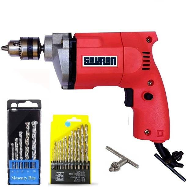 Sauran Heavy Duty Drill with warranty 10mm Drill machine with Wood,Iron and Concrete Drill bit set Pistol Grip Drill