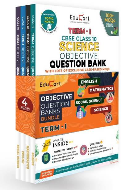 Educart TERM 1 MCQ Question Bank Class 10 Bundle 2022 - Maths, Science, English & SST Books (Based On New MCQs Type Introduced In 2nd Sep 2021 CBSE Sample Paper)EDUBOOK