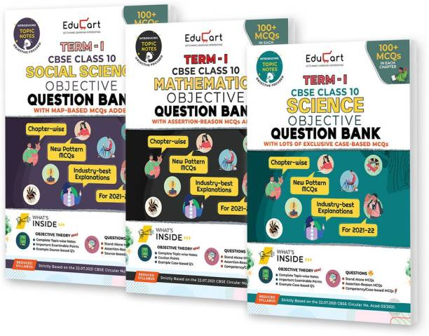 Educart TERM 1 MCQ Question Bank Class 10 Bundle 2022 - Maths, Science & SST Books (Based On New MCQs Type Introduced In 2nd Sep 2021 CBSE Sample Paper)