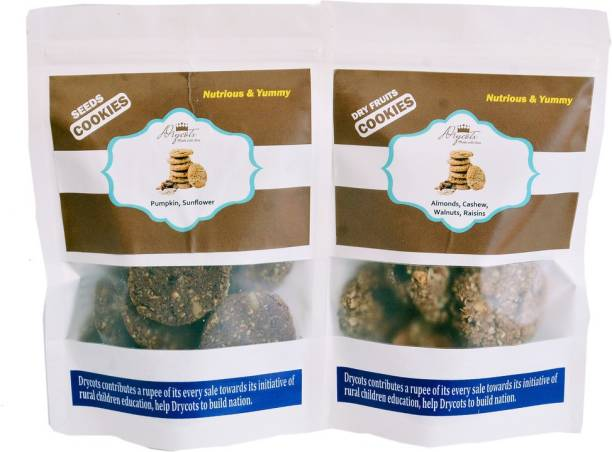 DRYCOTS Combo Of Oatmeal Seeds cookies and Dryfruits cookies with 0% FAT (CRUNCHY & DELICIOUS Multi Grain