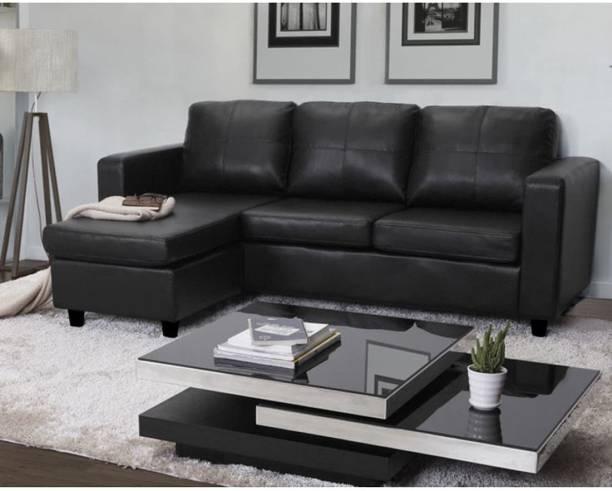 CHANDRIKA ENTERPRISES Leatherette 2 + 2 BLACK Sofa Set