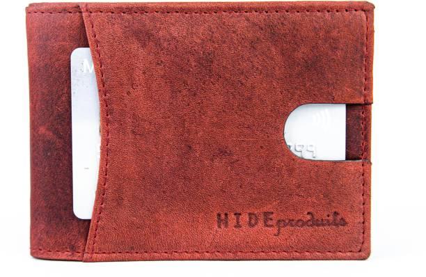 HIDE PRODUITS Men & Women Trendy Maroon Genuine Leather Wallet