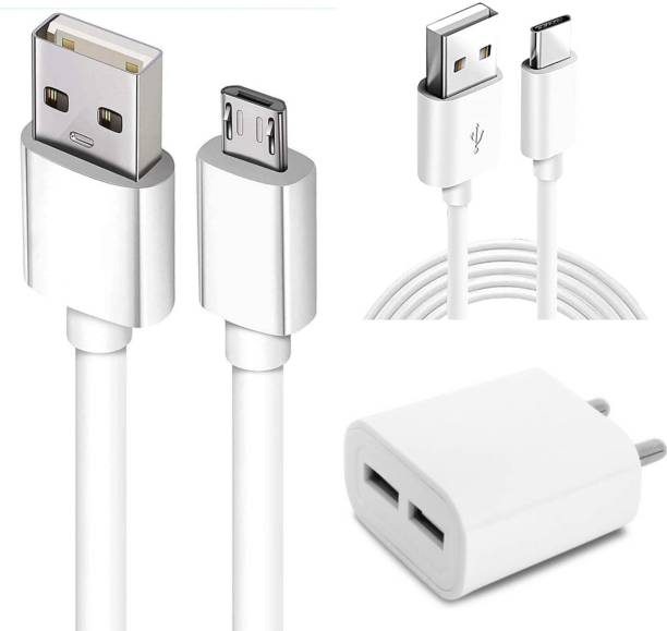 Chias Power Hub Wall Charger 12W with 3.4 AMP/5V Dual USB Port & Fast Charging Data Cable Micro & Type C Fast Charging 2A Cable for Type-C, Micro & Smartphones, Smart Charge 2 Port Data Charging Cable, Power line (Compatible with mobile, laptop, audio player, tablet, computer, One Cable) 3.4 A Multiport Mobile Charger with Detachable Cable