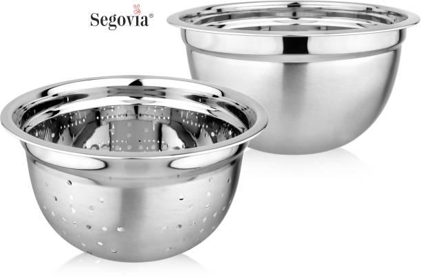SEGOVIA Stainless Steel Colander & Mixing Bowl | Colander 21 cm | Strainer | Sieves | Mixing Bowl 21 cm | Salad Bowl Colander
