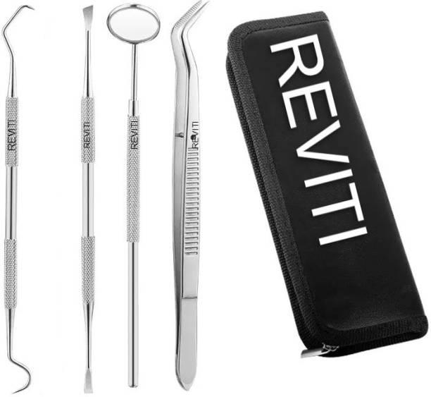 REVITI Dental Mirror, Dental Probe, Dental Cement Spatula, Dental Forcep with leather kit - Dental PMT set of 4 dental instruments Dental Elevator