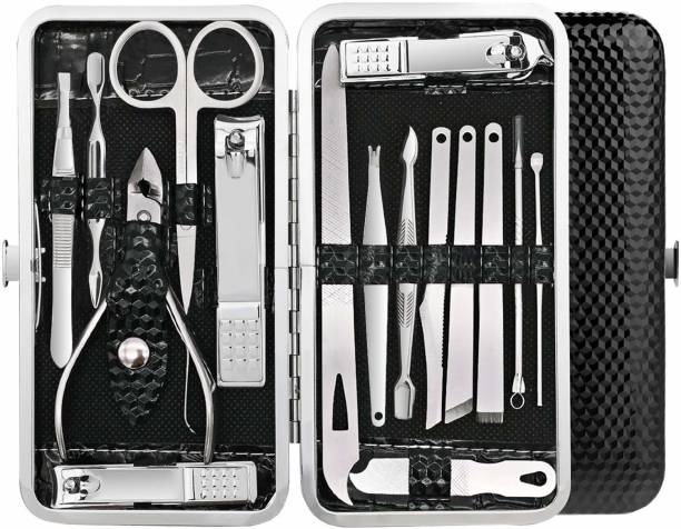 BELLA HARARO 16 in 1 Stainless Steel Manicure Pedicure Set Nail Cutter Scissors Care Set Tweezers Knife Ear Pick Eyebrow Scissors Utility Tools Grooming Kits with Leather Case