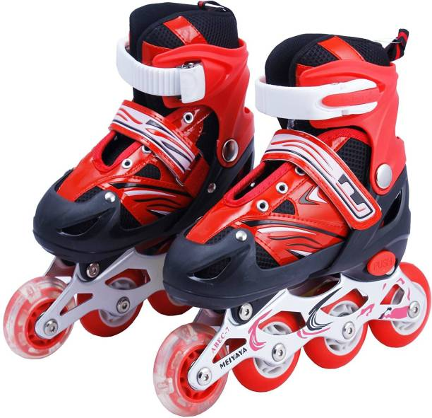 Nizomi Size Adjustable Aluminum-Alloy Skates Skating Shoes 6-18 Year Boys & Girls Skating In-Line With First Tyres Lighting Puled Wheel Best Birthday Gift In-line Skates - Size 6-18 UK