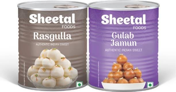 Sheetal RASGULLA - GULAB JAMUN SWEET COMBO - PACK OF 2 Tin